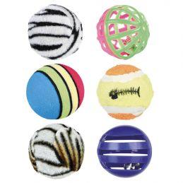 Lot de 6 balles pour chat Trixie TRIXIE 4011905045238 Balles, cannes à pêche, souris, peluches